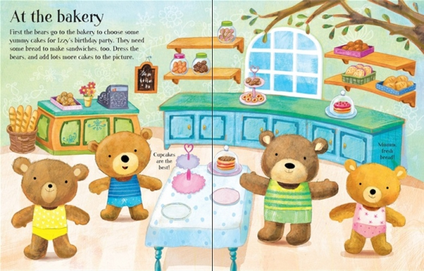 Dress the teddy bears going to the shops sticker book 2