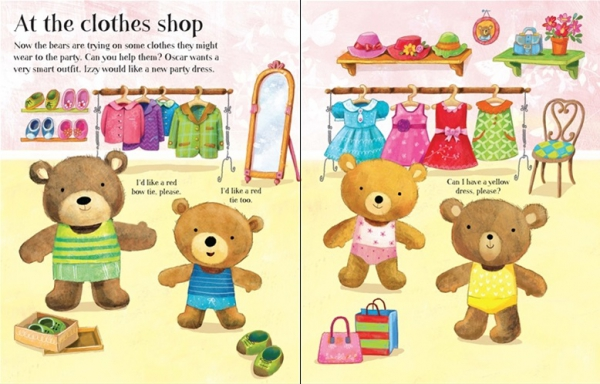 Dress the teddy bears going to the shops sticker book 1