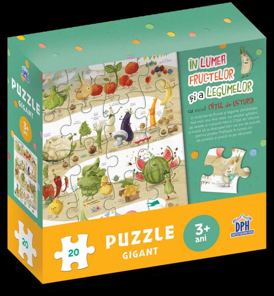 In lumea fructelor si a legumelor cu micul catel de usturoi - Puzzle gigant 0