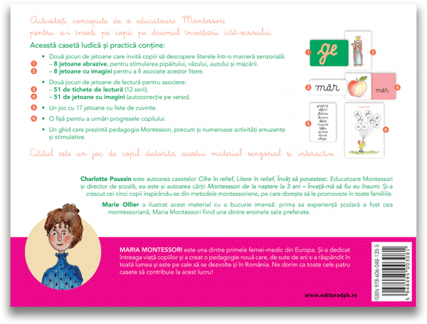 Invat sa citesc cu Montessori: 84 de Jetoane si 51 de tichete de lectura pentru a invata sa citesti foarte usor 1