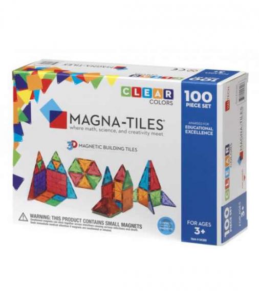 Set Magna-Tiles - 100 Piese Magnetice De Construcție Transparente Colorate 0
