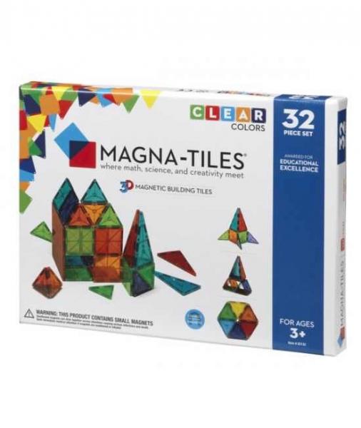 Set Magna-Tiles - 32 Piese Magnetice De Construcție Transparente Colorate 0