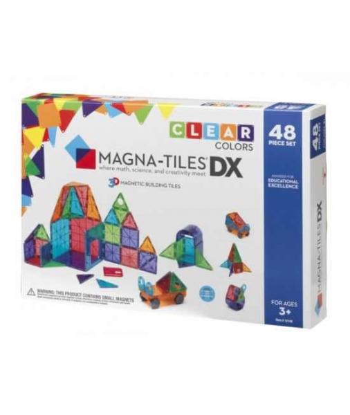 Set Magna-Tiles Deluxe - 48 Piese Magnetice De Construcție Transparente Colorate 0