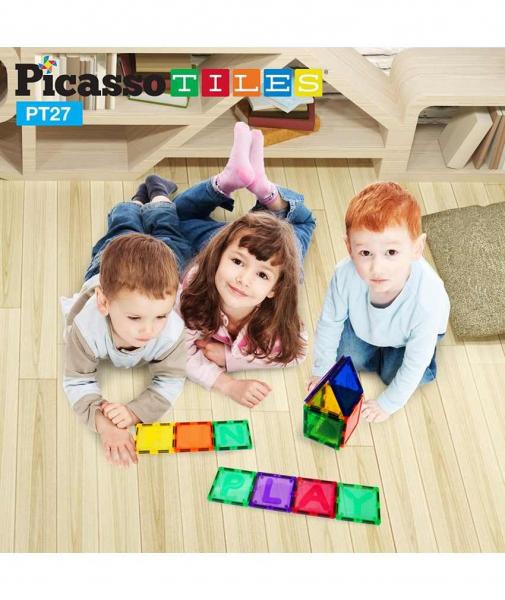 Set PicassoTiles Alfabet - 26 Piese Magnetice de Construcție Colorate 1