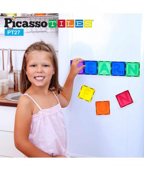 Set PicassoTiles Alfabet - 26 Piese Magnetice de Construcție Colorate 2
