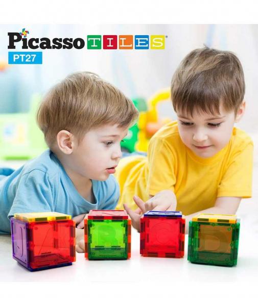 Set PicassoTiles Alfabet - 26 Piese Magnetice de Construcție Colorate 3