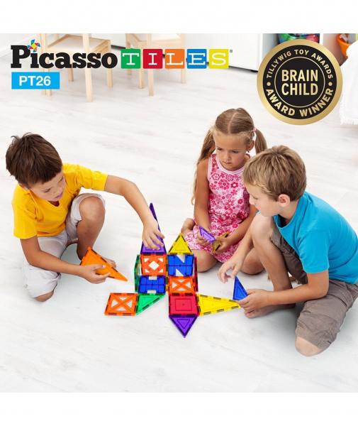 Set PicassoTiles Inspirațional - 26 Piese Magnetice De Construcție Colorate - 9 Forme Diferite 0