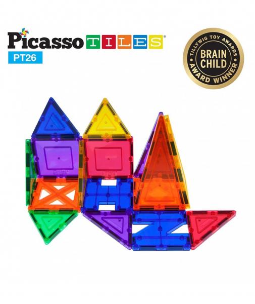 Set PicassoTiles Inspirațional - 26 Piese Magnetice De Construcție Colorate - 9 Forme Diferite 1