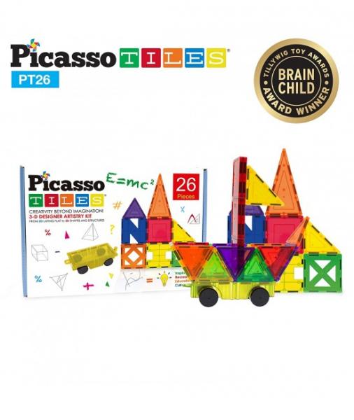 Set PicassoTiles Inspirațional - 26 Piese Magnetice De Construcție Colorate - 9 Forme Diferite 2