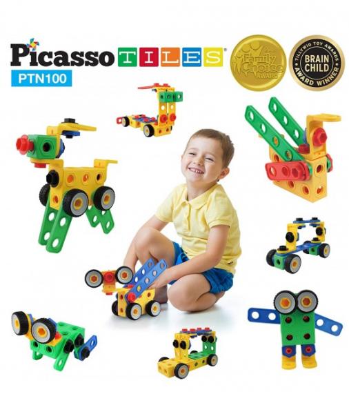 Set PicassoTiles De Construcție Inginer - 100 De Șuruburi, Piulițe Și Alte Piese 1