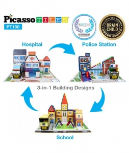 Set Picasso Tiles 3 In 1 Cu 150 De Piese - Scoala/Spital/Statie De Politie1