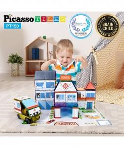 Set Picasso Tiles 3 In 1 Cu 150 De Piese - Scoala/Spital/Statie De Politie0