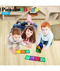 Set PicassoTiles Alfabet - 26 Piese Magnetice de Construcție Colorate1