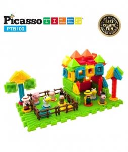 Set PicassoTiles Basic Bristle Shape Blocks Farm - 100 De Forme De Construcție Ce Se Întrepătrund0
