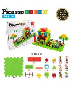 Set PicassoTiles Basic Bristle Shape Blocks Farm - 100 De Forme De Construcție Ce Se Întrepătrund1