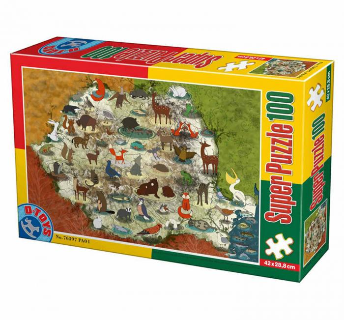 Super Puzzle Animalele din Romania 100 Piese D-TOYS [0]