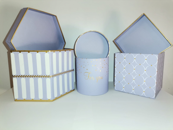 Set 3 cutii mov cu dungi albe [0]