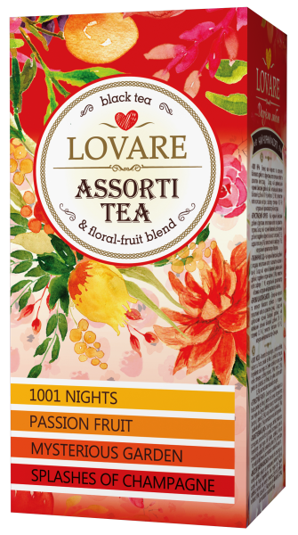 Assorti tea-  ceai negru in asortiment pachetele 24*2g, (4 feluri a cate 6 pliculete)  de la Lovare [0]