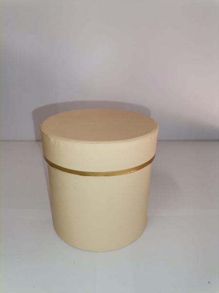 Cutie Carton Rotunda cu Dunga Aurie -  BEJ [0]