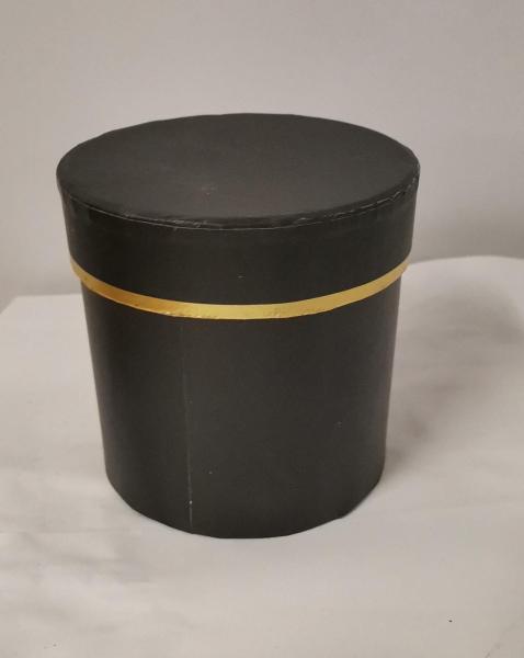 Cutie Carton Rotunda cu Dunga Aurie - NEGRU [0]