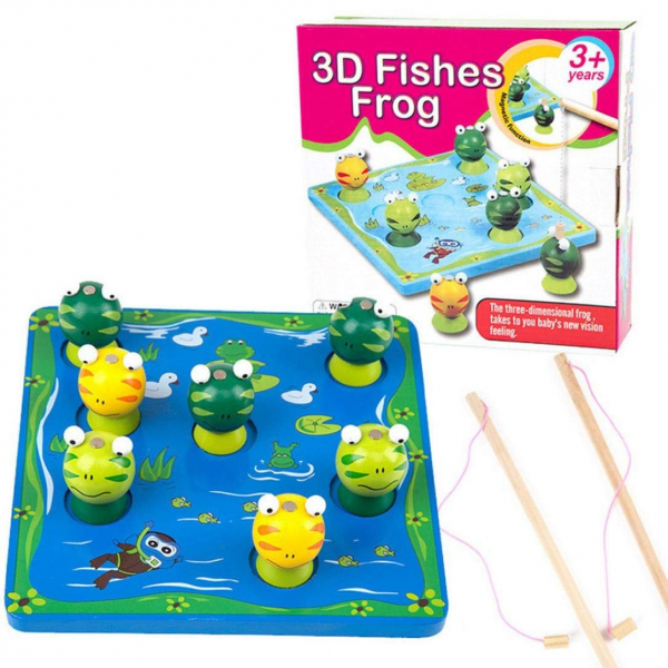 3D Fishes Frog - Joc interactiv pescuieste broasca Wooden Toys [0]