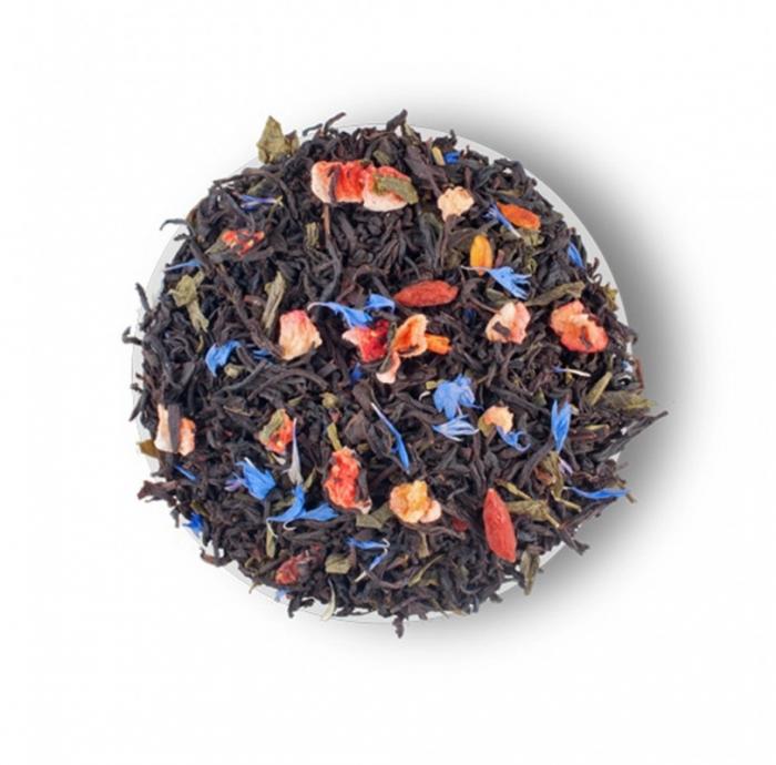 Splashes of champagne Amestec de ceai negru, ceai verde, capsuni și petale de albastrele de la Lovare [1]