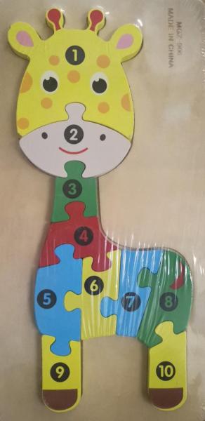 Puzzle lemn girafa cu numere [0]