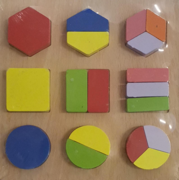 Puzzle lemn diferite forme geometrice colorate [0]