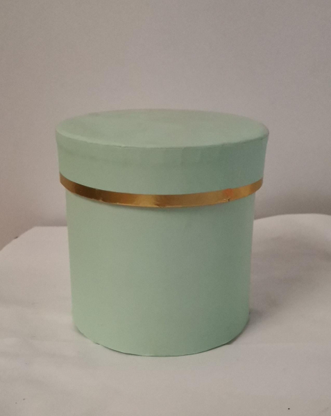 Cutie Carton Rotunda cu Dunga Aurie - VERDE [0]