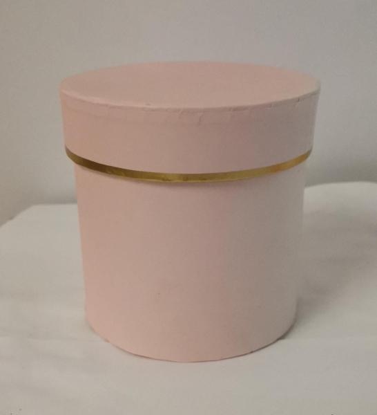 Cutie Carton Rotunda cu Dunga Aurie - ROZ [0]