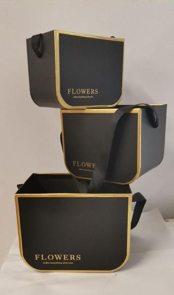 Set 3 cutii negre FLOWERS [0]