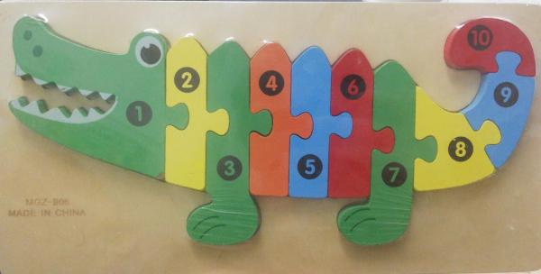 Puzzle lemn Crocodil cu numere [0]
