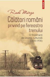 Calatori romani privind pe fereastra trenului