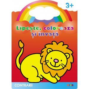Lipeste, coloreaza si invata. Contrarii. Leul