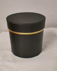 Cutie Carton Rotunda cu Dunga Aurie - NEGRU