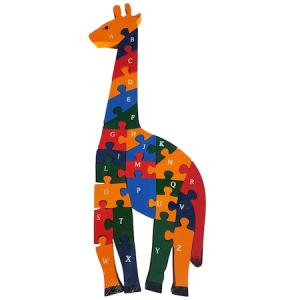 Puzzle girafa din lemn cu litere si cifre