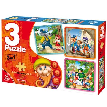 Set 3 Puzzle Basme 6, 9, 16 Piese