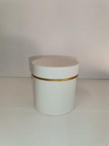 Cutie Carton Rotunda cu Dunga Aurie -  ALB