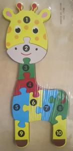 Puzzle lemn girafa cu numere