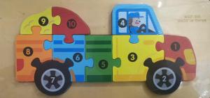 Puzzle lemn masina cu numere