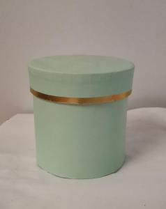 Cutie Carton Rotunda cu Dunga Aurie - VERDE