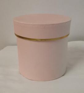Cutie Carton Rotunda cu Dunga Aurie - ROZ