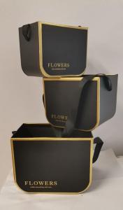 Set 3 cutii negre decor pentru flori cu bareta