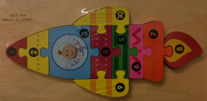 Puzzle lemn Racheta spatiala cu numere