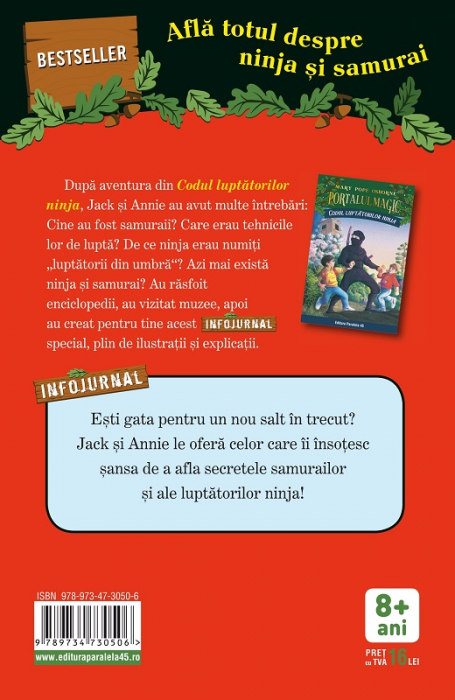 """Ninja și samurai. Infojurnal (însoțește volumul 5 din seria Portalul magic: """"Codul luptătorilor ninja"""") [1]"""
