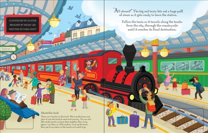 Wind-up train book with slot-together tracks [1]