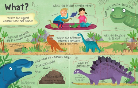 Lift-the-flap questions and answers about dinosaurs [2]