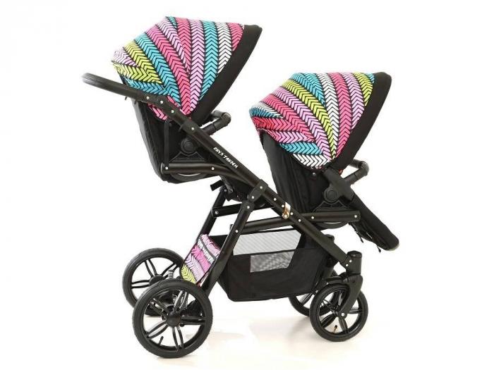 Carucior copii gemeni tandem 3 in 1 PJ STROLLER Lux Multicolor [7]