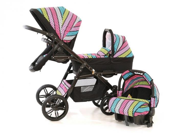 Carucior copii gemeni tandem 3 in 1 PJ STROLLER Lux Multicolor [1]