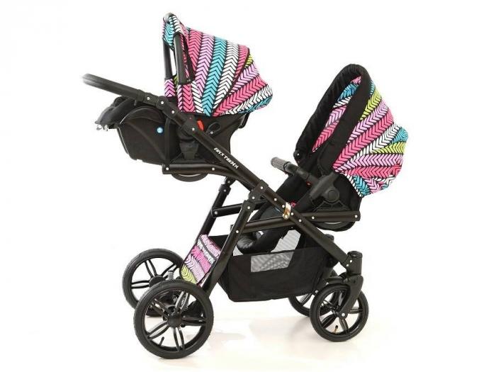 Carucior copii gemeni tandem 3 in 1 PJ STROLLER Lux Multicolor [12]